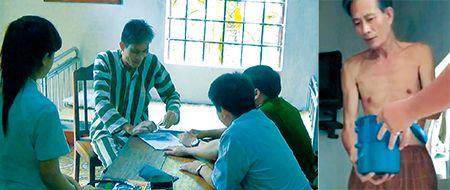 Nguyễn Văn Hải trong buổi khám sức khỏe định kỳ (ngày 26/7) và nhận khẩu phần ăn từ cán bộ trại (ngày 28/7).
