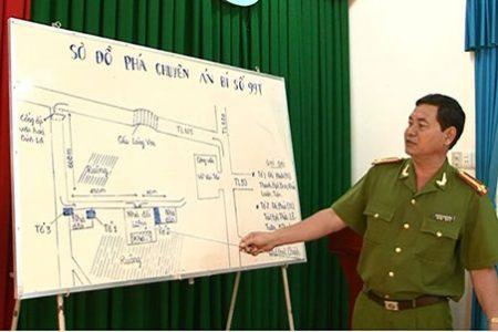 Thượng tá Nguyễn Xuân Tùng chỉ đạo đánh án.
